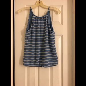 Express Blue and White Striped Tank Top